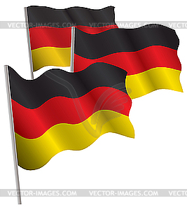 Deutschlands 3D-Flagge - farbige Vektorgrafik