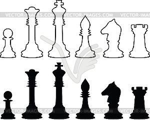 Schachfiguren, schwarzweiße Konturen - Vektor-Design