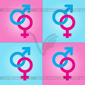 Hintergrund mit männlichen und weiblichen Symbolen - Stock Vektor-Bild
