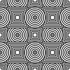 Hintergrund mit Kreisen und Quadraten - schwarzweiße Vektorgrafik