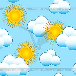 Himmel-Hintergrund mit Wolken und Sonne - Vektor-Abbildung