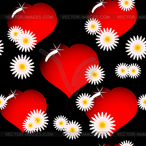 Rotes Herz und Blumen - Stock Vektorgrafik