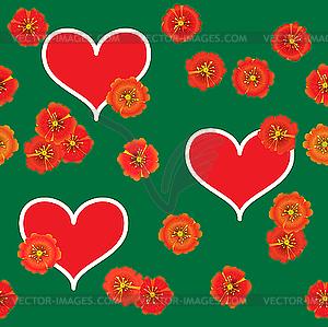 Rotes Herz und Blumen - Vektor-Illustration