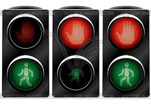 Ampeln für die Fußgänger - Clipart
