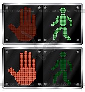 Ampeln für die Fußgänger - Vektorgrafik