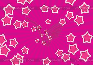 Rosa Hintergrund mit Strahlen und Sterne - farbige Vektorgrafik