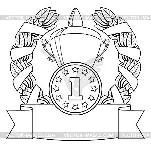 Die Auszeichnung. 1-st Position - schwarzweiße Vektorgrafik