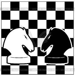 Schachbrett und zwei Pferde - Vektor-Klipart