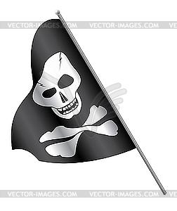 Piraten-Flagge: Schädel und gekreuzte Knochen - Klipart