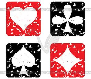 Satz Spielkarten. Grunge Stempel - vektorisiertes Design