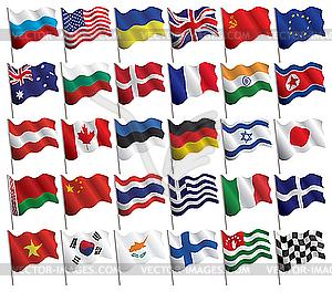 Set von wehenden Flaggen - Vektorgrafik-Design