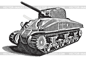 Amerikanischer Panzer Gravüre - Vector-Clipart EPS