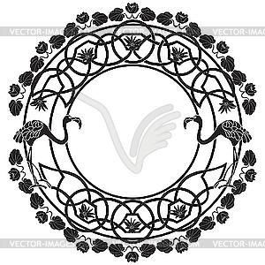 Flamingo-Vignette - Vector-Clipart / Vektorgrafik