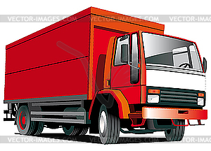 Roter LKW - Vektor-Illustration