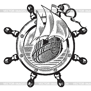 Schiff und Lenkrad Gravur - Vektor-Design