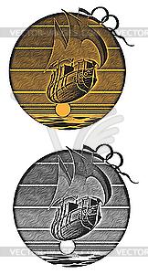 Fliegendes Schiff bei Sonnenuntergang - Vektor-Illustration