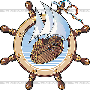 Schiff und Lenkrad - Vector-Abbildung
