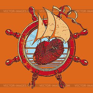 Vignette mit Lenkrad und Schiff - Vektor-Illustration