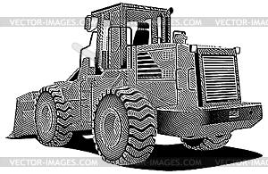 Bulldozer Gravüre - Stock-Clipart