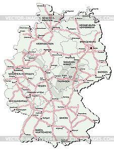 Deutschlands Landkarte mit Autobahnen - Vector Clip Art