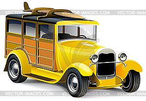 Gelbes altes Auto - Vektor-Abbildung