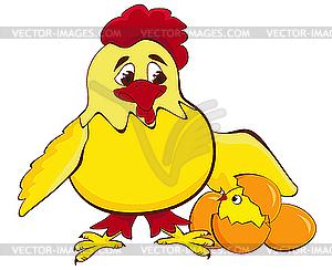 Huhn mit Küken und Eiern - Vektor-Clipart / Vektor-Bild