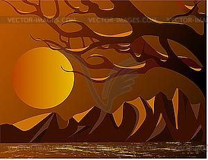 Sonnenuntergang in den Bergen - Royalty-Free Clipart