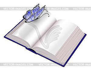 Offenes Buch mit Schmetterling - farbige Vektorgrafik