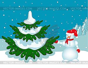 Schneemann neben dem Weihnachtsbaum. - vektorisiertes Clipart