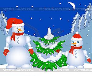 Schneemänner neben dem Weihnachtsbaum - vektorisierte Grafik