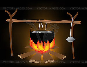 Essen auf dem Feuer in Wanderung - Vektor-Clipart EPS