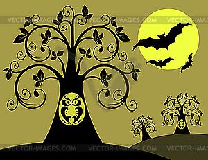 Baum mit einer Eule in der Nacht - vektorisiertes Clipart
