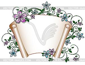 Manuskript-Blumenmuster. - Vektor-Clipart / Vektorgrafik