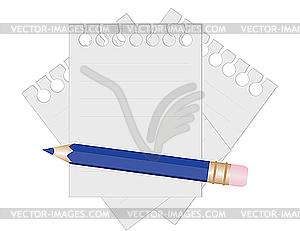 Bleistift und Papier für Notizen - Clipart-Bild