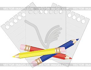 Bleistifte und Papier für Notizen - Vektor-Skizze