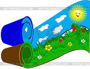 Gras und Himmel in Rollen. - Vector-Clipart / Vektorgrafik