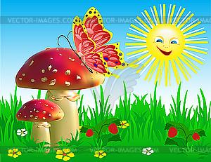 Sommerlandschaft mit Champignons und Schmetterling. - Vektor-Klipart