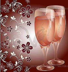 Postkarte mit hellen Gläsern Champagner - Vector-Clipart / Vektor-Bild