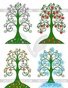 Vier Bäume für Jahreszeiten - Vektorgrafik-Design