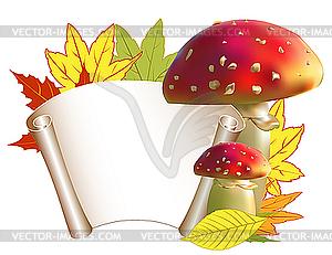 Herbst-Grukarte mit Blättern und Pilzen - Vektor Clip Art