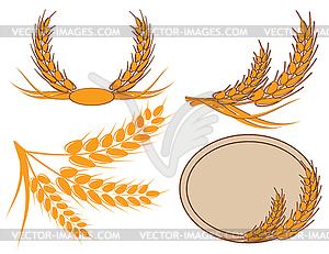 Weizen-Ähren im Kranz - Vektor-Clipart