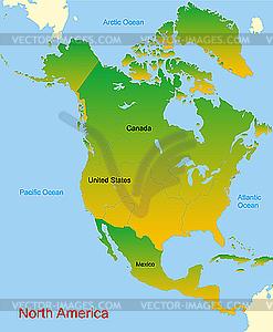 Karte von Nordamerika Kontinent - Vektor-Bild