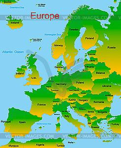 Karte von europäischen Kontinent - farbige Vektorgrafik