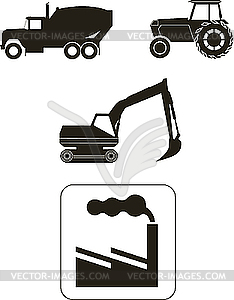 Aufbaumachinen - Icons - vektorisiertes Bild