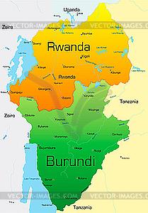 Ruanda und Burundi - Vector-Design