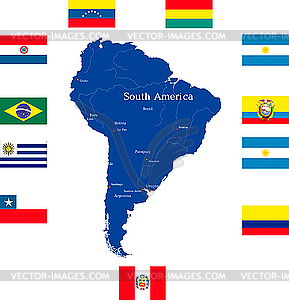 Karte von Südamerika - Vektor-Clipart EPS