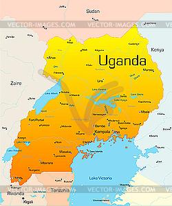 Landkarte von Uganda - Vektor-Bild
