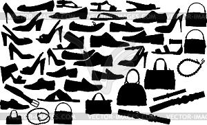 Silhouetten von Schuhe und Handtaschen - Vector-Abbildung