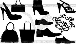 Silhouetten von Schuhen und Taschen - vektorisiertes Clip-Art
