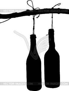 Flasche auf dem Zweig - Vector Clip Art